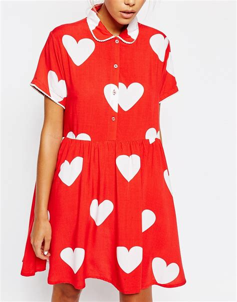 heart pattern button up shirt lyst lazy oaf button front shirt dress with all over