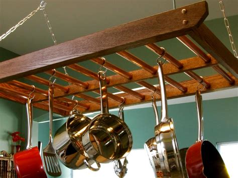 hanging pots and pans from ceiling how to build a hanging pot rack how tos diy