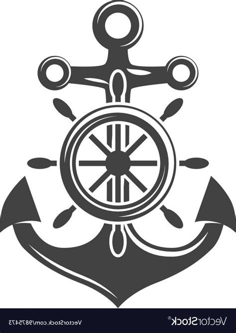 boat steering wheel logo ship steering wheel and anchor black icon logo vector