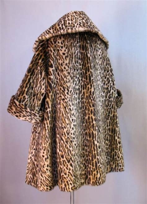 faux leopard swing coat vintage 50s swing coat faux leopard fur large xl bust 48