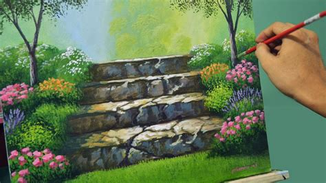 flowers gardens and landscapes acrylic landscape painting lesson stairway to flower