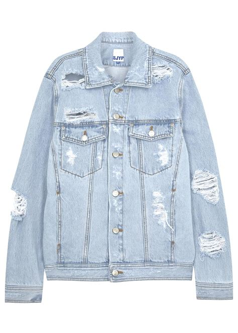 Ripped Jacket sjyp pale blue ripped denim jacket in blue lyst