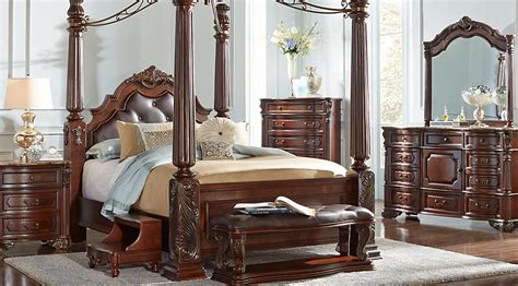 queen size canopy bedroom set southton walnut 6 pc queen canopy bedroom bedroom