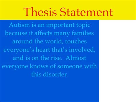 autism thesis statement thesis statement on autism for a research paper