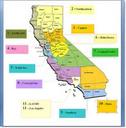 4 regions of california map california regions according to education office