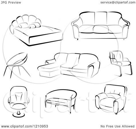 Sofa Sketches F U R by Furniture Illustrations Clipart 76