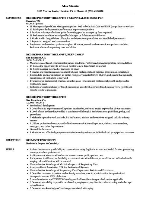 registered respiratory therapist resume exle reg respiratory therapist resume sles velvet