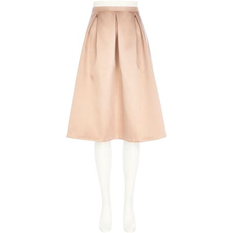 light pink pleated skirt river island light pink satin box pleat midi skirt in pink