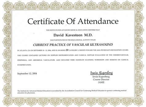certification letter of attendance awards citations health