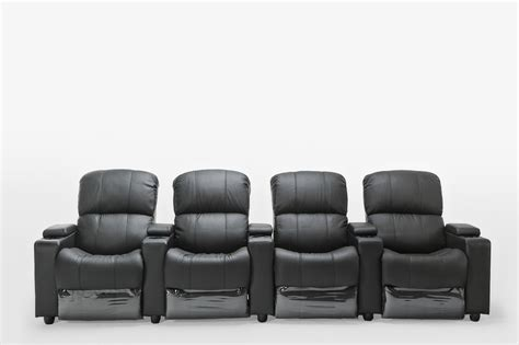 cinema recliner lounge sophie black leather 4 seater home theatre recliner lounge