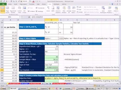 excel 2010 statistics 80 two tail z distribution mean