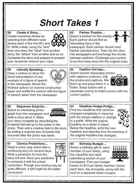 Short Takes 1 – Newspaper Activities – NIE Rocks!