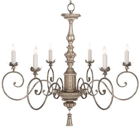 Country Chandeliers Raphael Country Antique Silver Leaf Chandelier Kathy Kuo Home