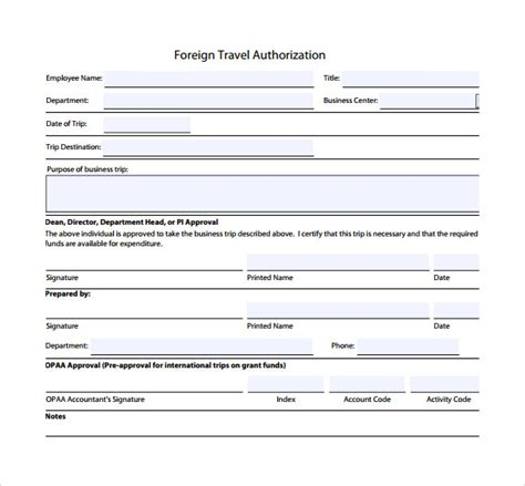 sle travel authorization form 8 download free