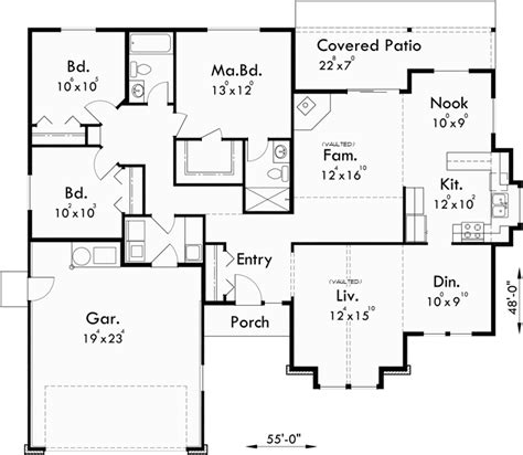 one bedroom floor plans with garage one level house plan 3 bedroom 2 bath 2 car garage 55 ft