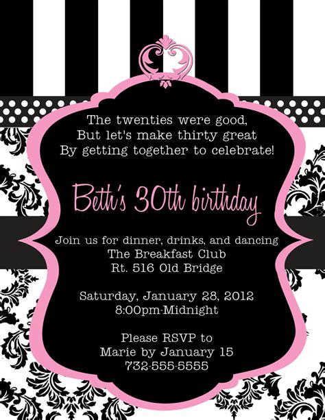 40th birthday invitations templates ideas 30th birthday