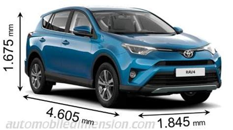 toyota rav4 2007 dimensions dimensions of toyota cars showing length width and height