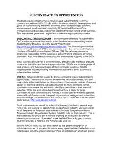 Small Business Subcontracting Plan Template Small Business Subcontracting Opportunities