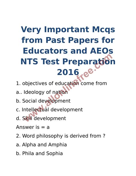 test pattern for educators 2016 nts educators aeos test preparation 2016 past papers
