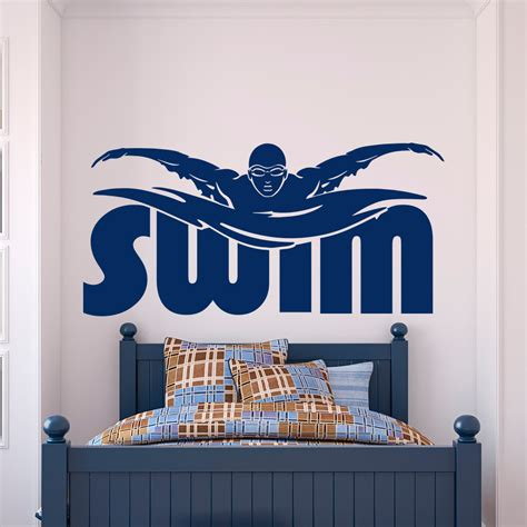 gift for home decoration gym sports wall decal stickers swim swimming pool swimmer