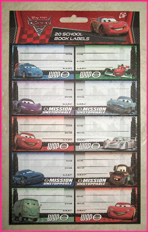 cars 2 20 school book labels stickers lightning