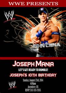 wwe john cena birthday invitations by xochitlmontana on etsy