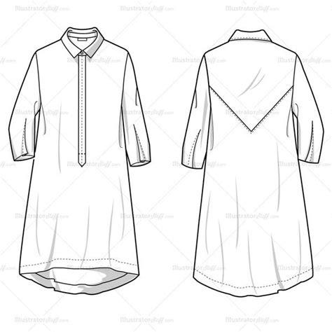 Women S Shirt Dress Fashion Flat Template Illustrator Stuff Technical Flat Template