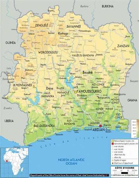 ivory coast on the map elfenbeink 252 ste geographische karten der elfenbeink 252 ste