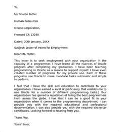 sample letter of intent for employment 9 documents in