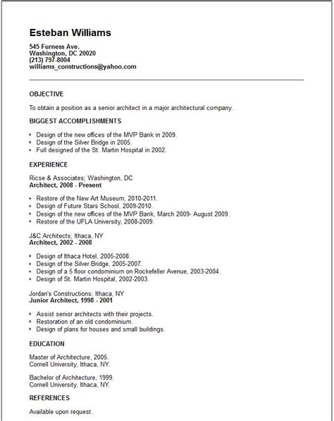 architect resume objective engineering resume exles