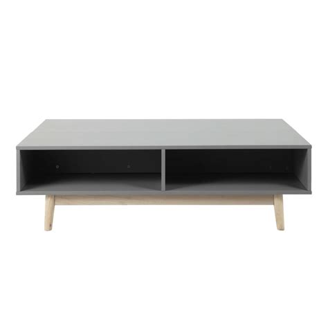 wooden coffee table with storage in grey w 120cm artic