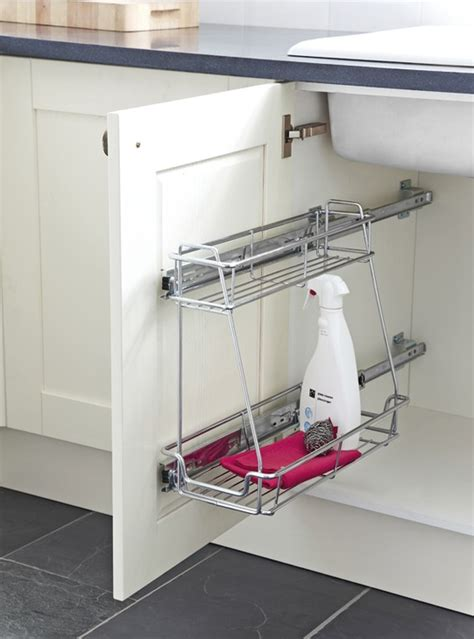sink pull out storage undersink pull out two tier storage unit linear version