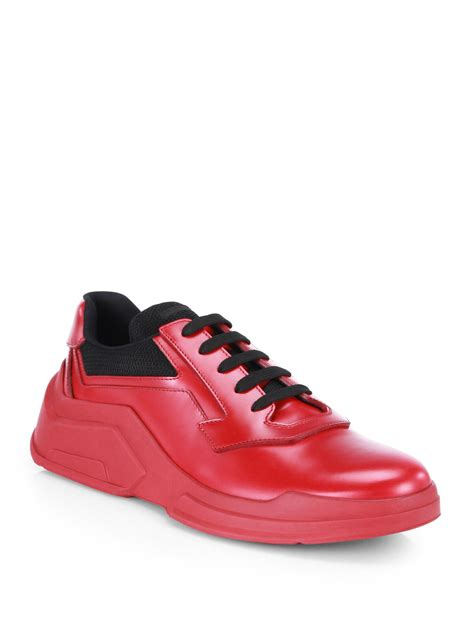 prada sneakers prada spazzolato laced runway sneakers in for lyst
