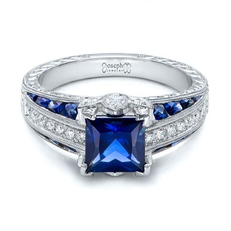 custom blue sapphire  diamond engagement ring