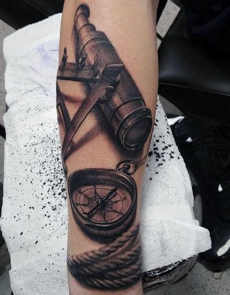 telescope tattoo 100 nautical tattoos for slick seafaring design ideas