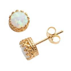 Silver And Gold Chandelier 14k Gold Over Silver Lab Created Opal Crown Stud Earrings