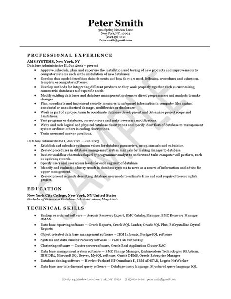 Database Administrator Cv Template Dba Resume Template