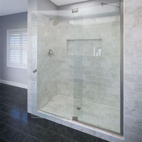 Semi Framed Shower Door Basco Cantour 60 In X 76 In Semi Framed Offset Pivot Shower Door And Inline Panel In Brushed