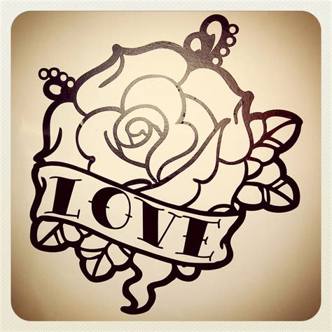 rose old school tattoo school wall decal