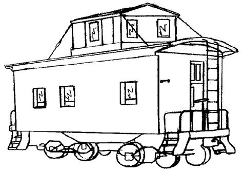 coloring page train caboose passenger railroad coloring page car pictures