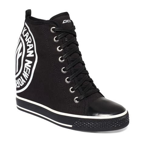 wedge sneakers macy s dkny grommet wedge sneakers in black lyst