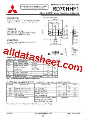 harga transistor rd 70 rd70hhf1 データシート pdf mitsubishi electric semiconductor