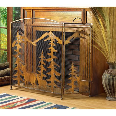 Rustic Fireplace Screen by Rustic Bronze Forest Wrought Iron Fireplace Screen