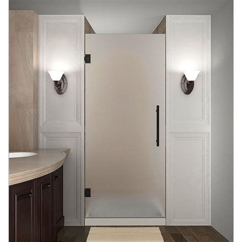 Shower Door Bronze Aston Cascadia 30 In X 72 In Completely Frameless Hinged Shower Door With Frosted Glass In