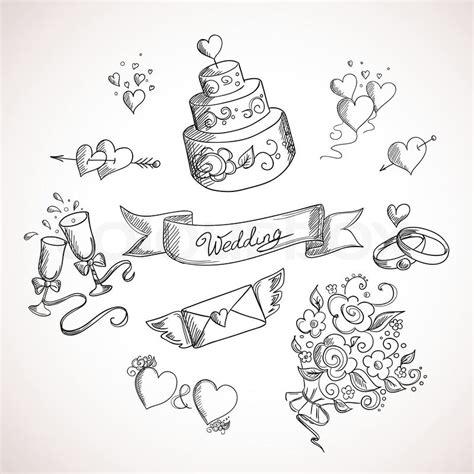 Hochzeit Zeichnung by Skizze Der Hochzeit Design Elemente Stock Vektor Colourbox