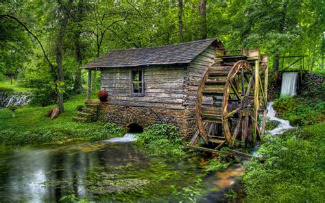 forest water mill house hd wallpaper
