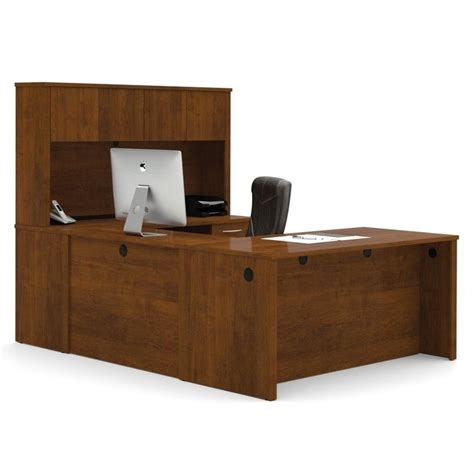 U Desk With Hutch Bestar Embassy U Desk With Hutch In Tuscany Brown 60857 63