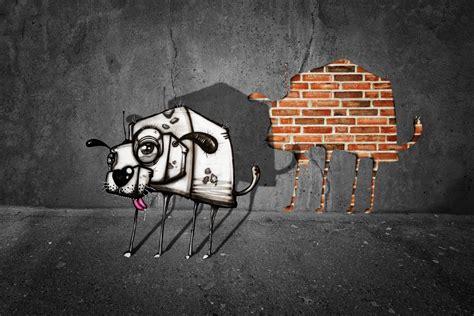animals dog graffiti digital art walls bricks shadow