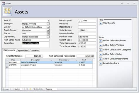 Access 2003 Asset Tracking Database Microsoft Access Tutorials Pinterest Software Asset Management Database Template