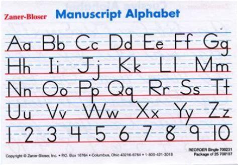 printable alphabet manuscript chart 8 best images of zaner bloser manuscript alphabet